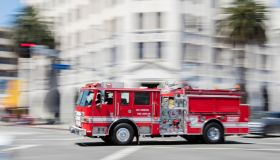 Fire Engine Rushing in Los Angeles
