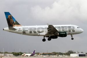 A Frontier Airlines Airbus 319 lands at Miami International...