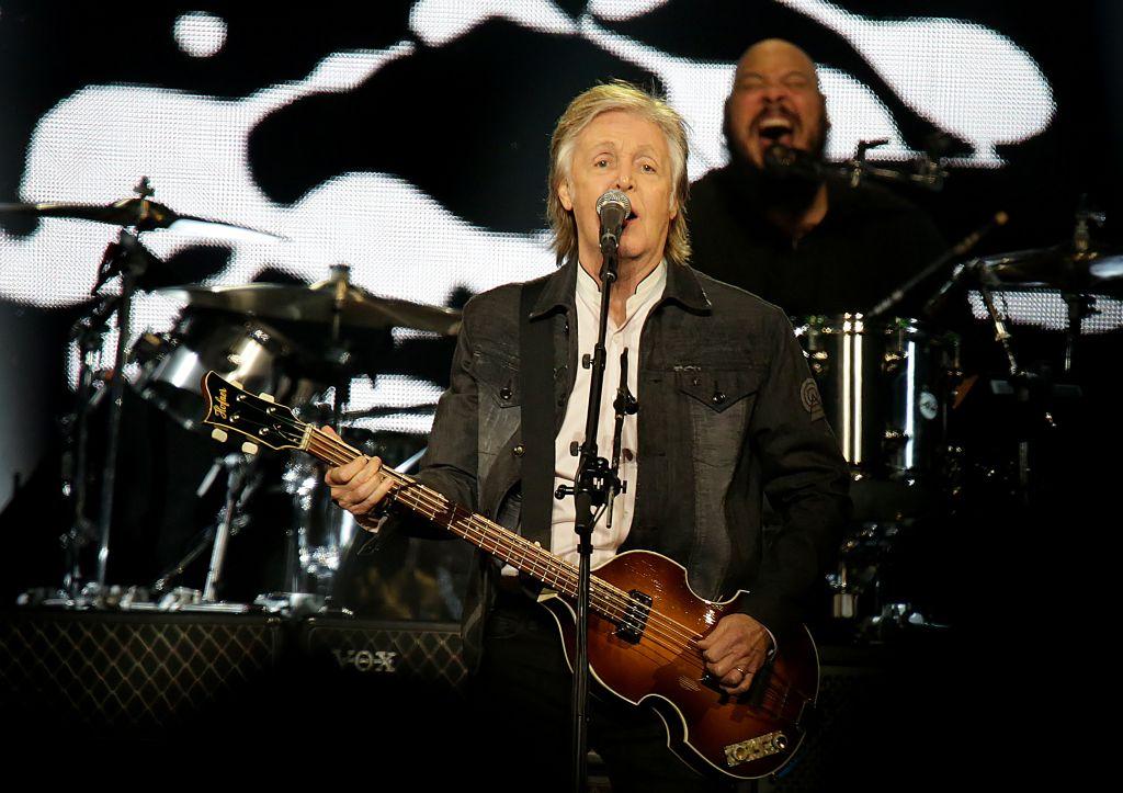 Paul McCartney performing at Liverpool Echo Arena