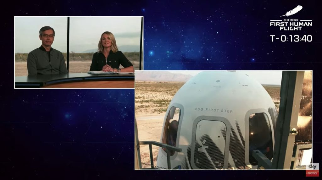 Jeff Bezos and his crew blast into space aboard New Shepard rocket ship. As shown on live on Sky News.