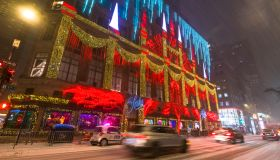 Saks Fifth Avenue's Christmas Lights Show during First major winter snowstorm hits New York City during the Pandemic of COVID-19
