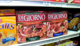 DiGiorno Pizzas are displayed at an Associated Supermarket i