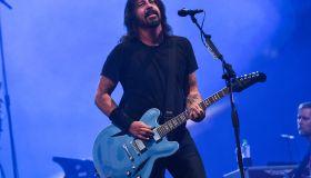 Foo Fighters performing at Leeds Festival